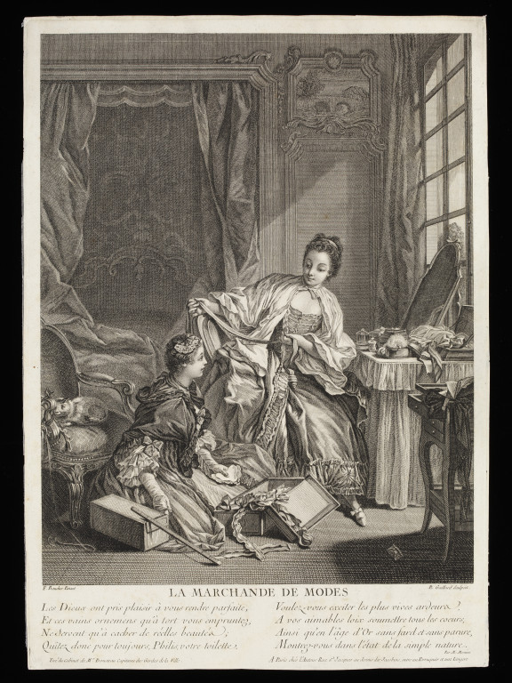 'La Marchande de Modes', engraving with eight lines of  verse, engraved by R. Gaillard, after Francois Boucher, France, ca. 1755. V&A  E.361-1905