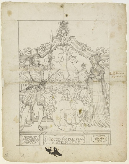Shield of Jacob von Falckenstein, drawing by Ludwig Ringler, Swiss, 1562. Museum no. 2378.