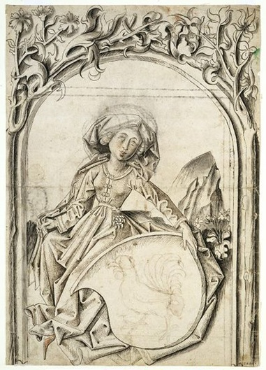 Design for stained glass, Swiss, ca. 1466. Museum no. 2380.
