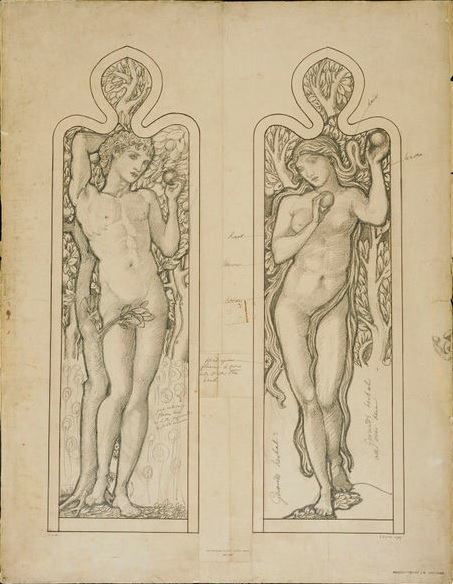 Design for a window of Adam and Eve, by Edward Burne-Jones, 1870s-1880s. Museum no. E.2908-1927.