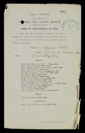 Declaration of Gift Form, listing the 18 works given by Rodin, signed and dated 8 November 1914.