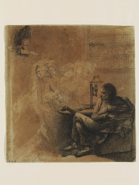 Illustration to Edgar Allan Poe's poem The Raven, Dante Gabriel Rosetti, ca. 1848.