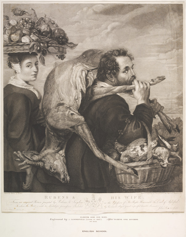 Rubens and his Wife, print on paper, engraved by John Summerfield, after Rubens and Frans Snyders, English School, first half 19th century. V&A DYCE.3125