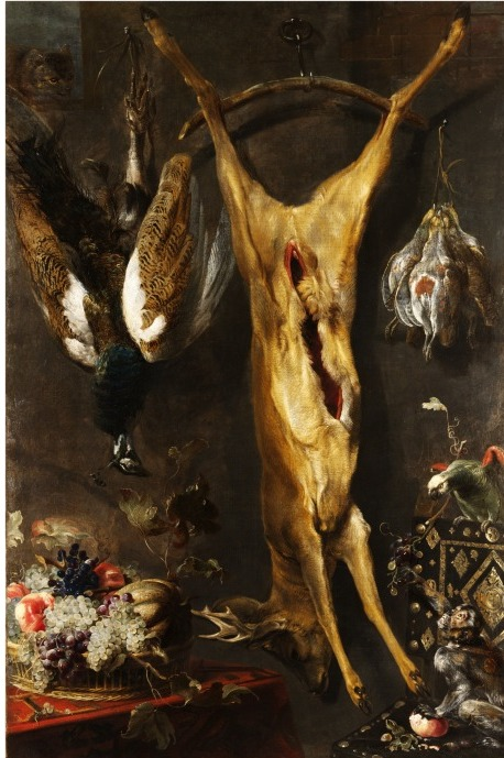 'Still Life with a Dead Stag', oil painting, Frans Snyders, Flemish school, 1640s. V&A 4418-1857