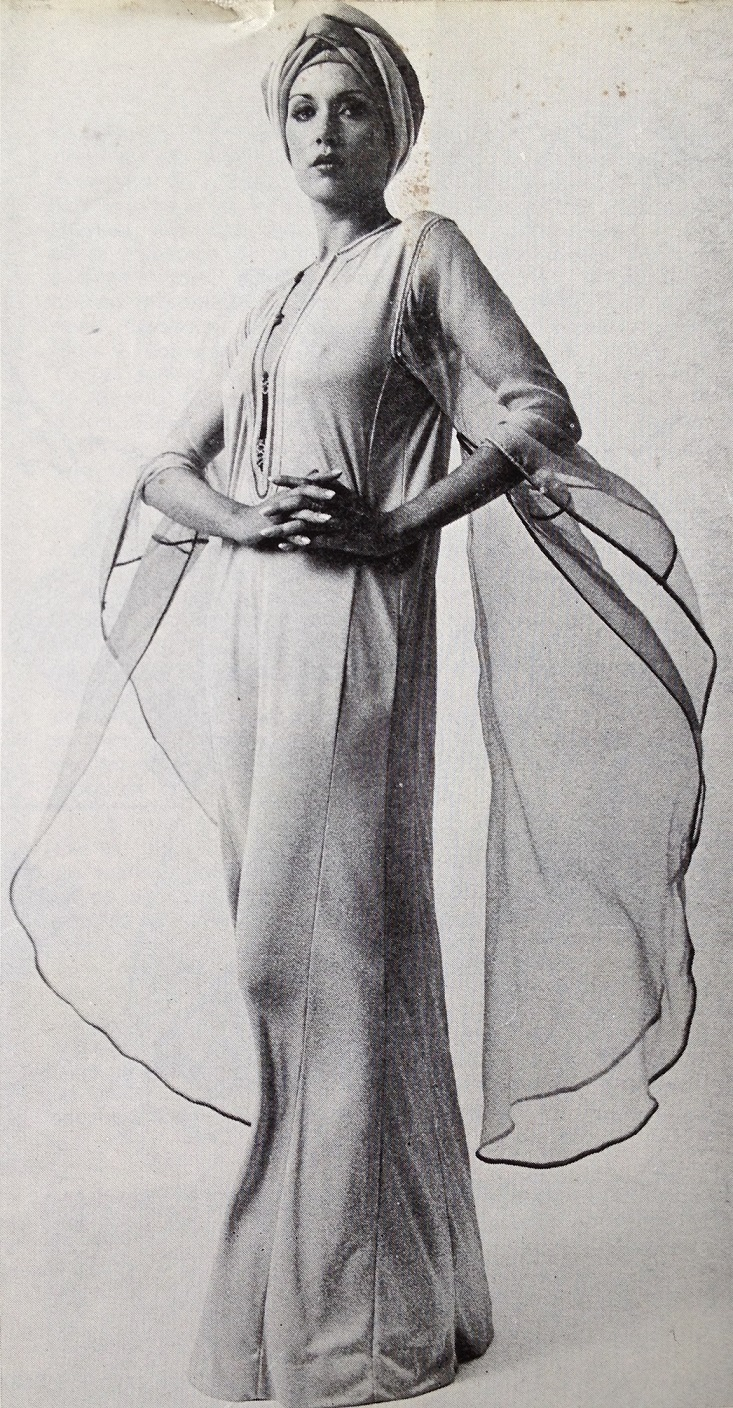 Design by Tamy Tazi presented in Marbella in the 1978 and published in the Spanish magazine Gran Mundo (no date or page number).