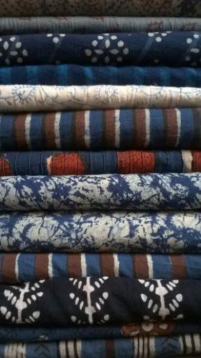 Stack of fabric, hand block printed in India, 2014 at Merchant & Mills © Rosie Wanek
