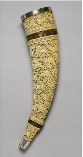 Oliphant, carved ivory with metal mounts, Southern Italy, c.1000-1100.  Museum no. 7953-1862 © Victoria and Albert Museum, London