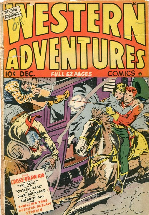 The Cross-Draw Kid. Cover of Western Adventures, no.2 Dec. 1948. Ace Comics.