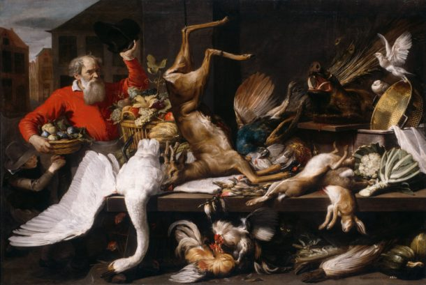 Still Life with Dead Game, Fruits, and Vegetables in a Market, Frans Snyders, 1614. The Art Institute of Chicago.