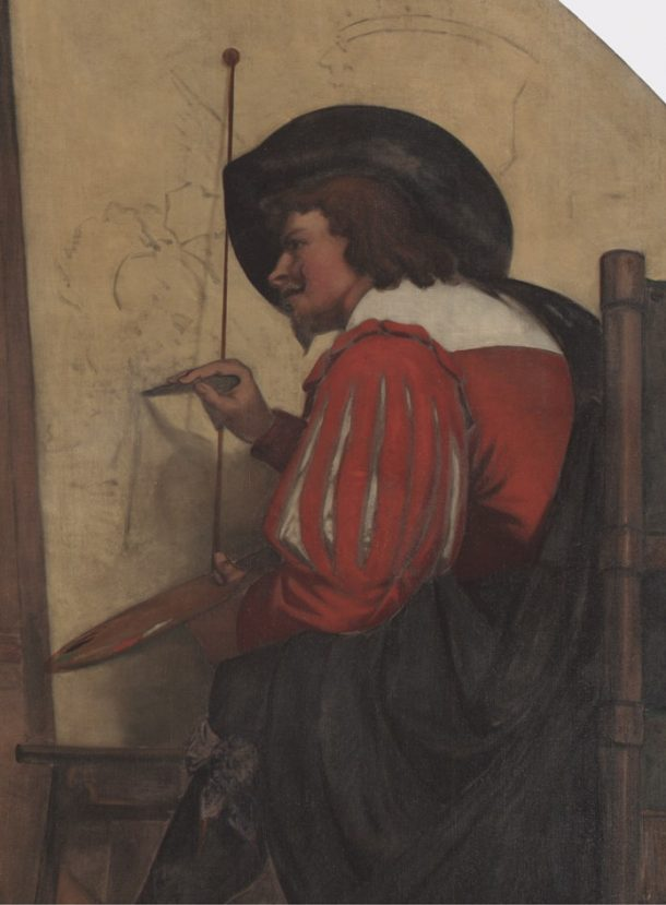 Detail from 'Drawing from Still Life'. The figure is thought to represent Frans Snyders making a preparatory drawing on canvas for a still life painting.