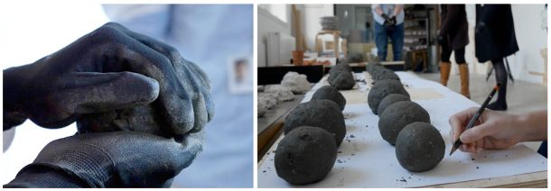 The concrete balls shaped by hand