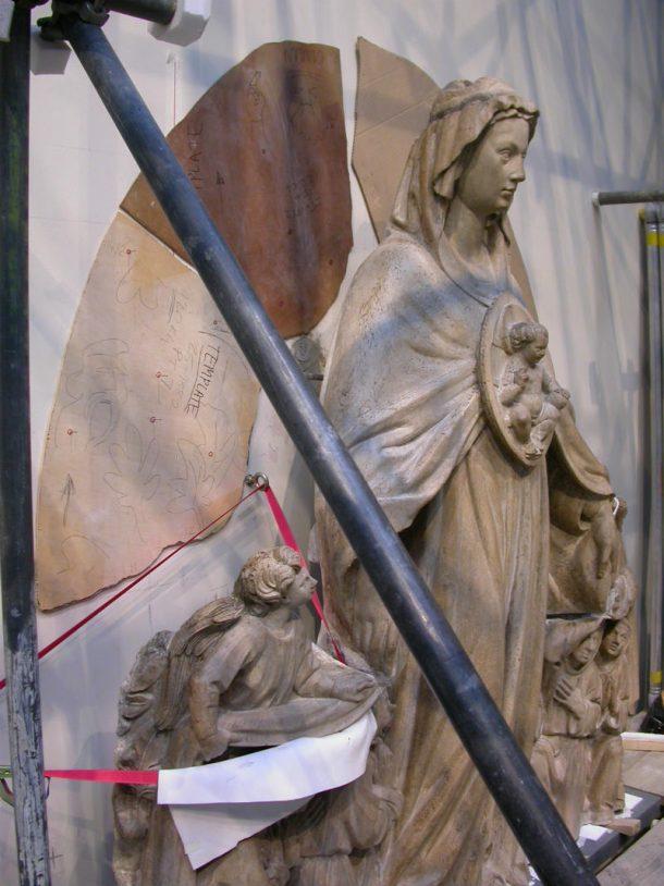 Misericordia relief during installation © Johanna Puisto, Victoria and Albert Museum, London.