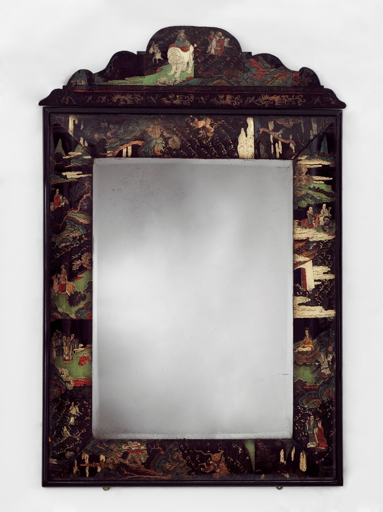 Mirror, about 1680, British, veneered with panels of Chinese lacquer. W.39-1950 © Victoria and Albert Museum, London