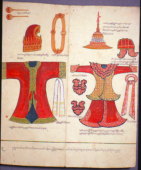 Illustration 6. Illustration from parabaik, or folding manuscript, of the civil and military court dress awarded to King Thibaw's Lord Chamberlain, as well as that prescribed for a provincial governor, about 1880. V&A: IM. 320-1924 © Victoria and Albert Museum, London.