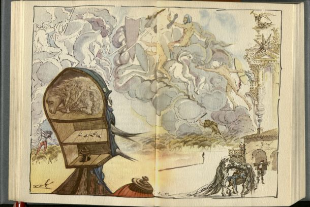 Illustration by Dali to 1946 version of Don Quixote. NAL: L.2887-1947. ©V&A Museum.