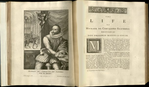 Frontispiece of 1742 edition of 'Don Quixote' showing portrait of Cervantes by William Kent. NAL: L.995-1885. ©V&A Museum.
