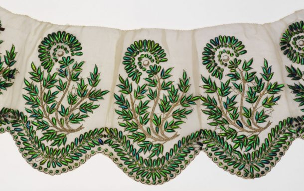 Textile decorated with beetle wings, India 19th C.