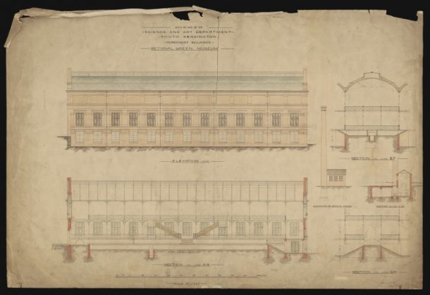 Building plan for the Bethnal Green Museum, 1860s. Museum no. E.1068-1927 © Victoria and Albert Museum, London