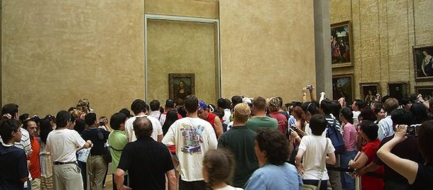 The 'Mona Lisa' on display in the Louvre, Paris; photograph by Werner Willman © CC BY 2.5