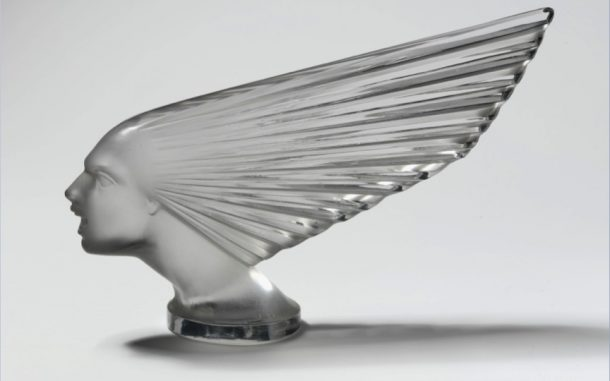René Lalique, Victoire, car radiator mascot, press-moulded glass, French, 1928. Museum no. CIRC.199-1972 © The Victoria and Albert Museum, London