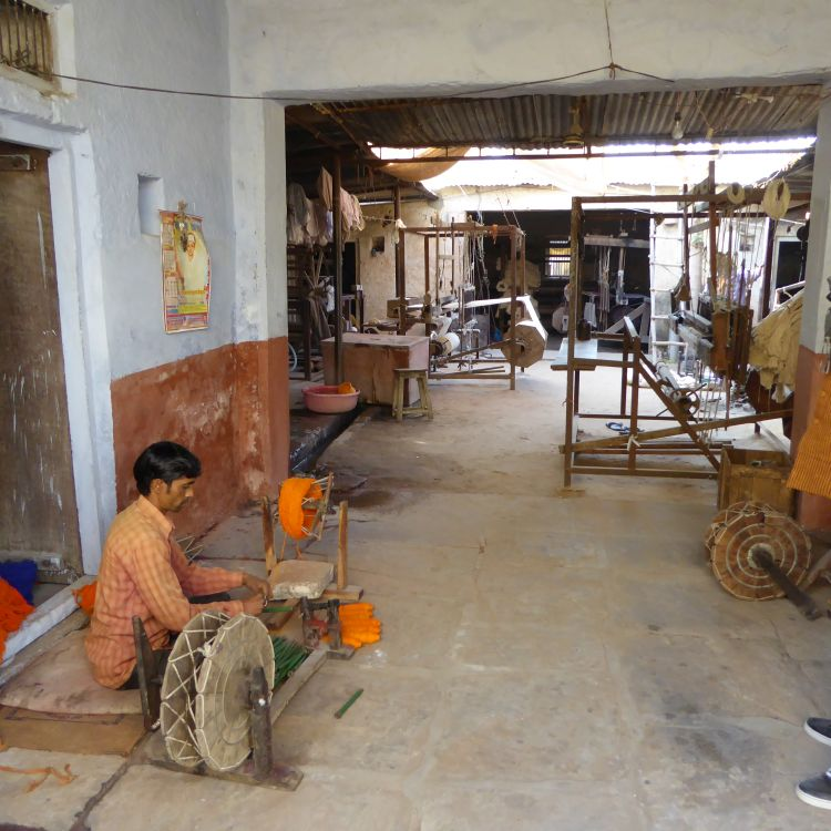 Entrance to the Khadi weavers workshop in Kaladera.