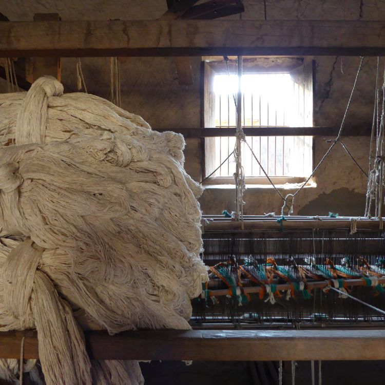 Starched cotton ready to load onto the warp drum.