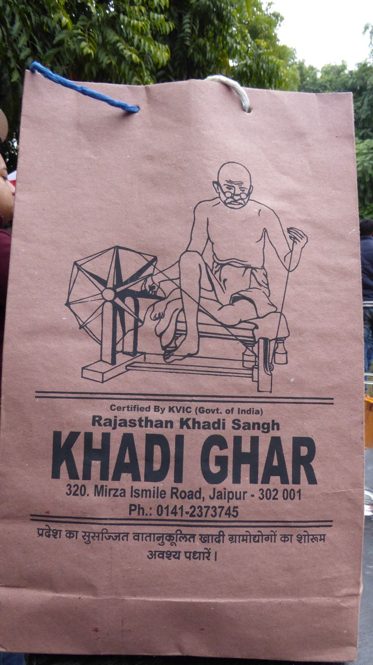 Shopping bag from the Khadi shop in central Jaipur showing Gandhi at his spinning wheel.