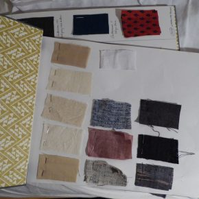 My shopping: samples of the cotton, silk and wool khadi fabrics that I I bought on my trip