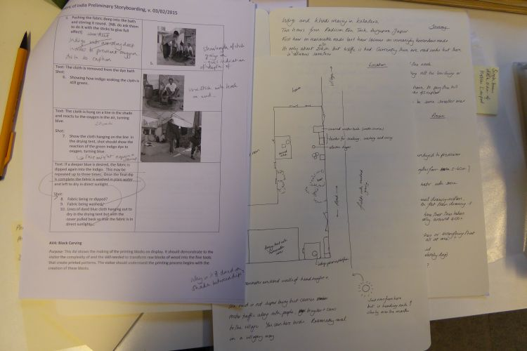 Film story board and location notes