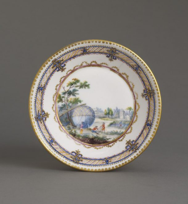 André-Vincent Vielliard, Sèvres Porcelain Factory, soft-paste porcelain saucer, painted in enamels and gilt, 1784, France. Museum no. C.114-1972 © Victoria and Albert Museum, London