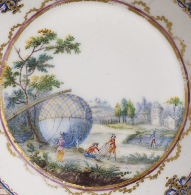 André-Vincent Vielliard, Sèvres Porcelain Factory, soft-paste porcelain saucer [detail], painted in enamels and gilt, 1784, France. Museum no. C.114-1972 © Victoria and Albert Museum, London