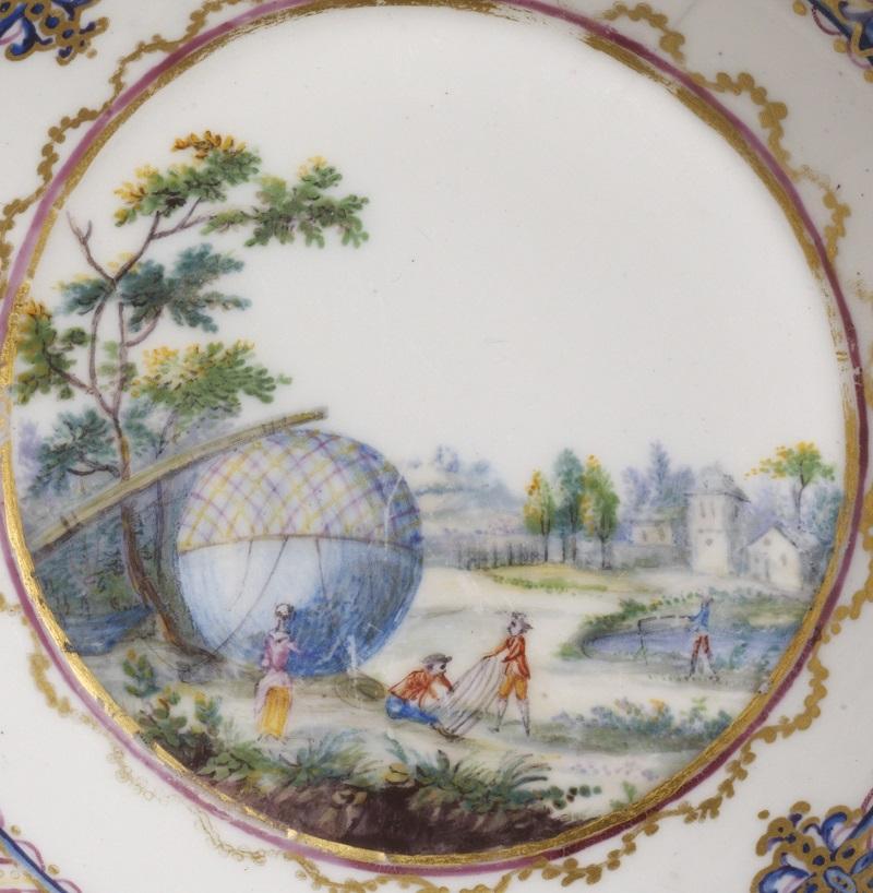 André-Vincent Vielliard, Sèvres Porcelain Factory, soft-paste porcelain saucer [detail], painted in enamels and gilt, 1784, France. Museum no. C.114-1972 © Victoria and Albert Museum, London