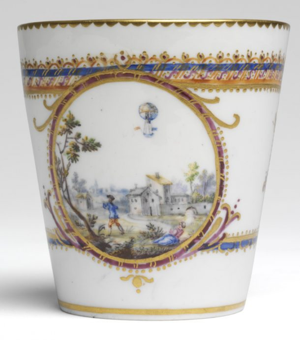 André-Vincent Vielliard, Sèvres Porcelain Factory, soft-paste porcelain cup, painted in enamels and gilt, 1784, France. Museum no. C.114-1972 © Victoria and Albert Museum, London