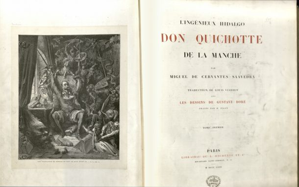 Frontispiece of 1863 version of 'Don Quixote' with illustrations by Doré. NAL: 38041800160277 ©V&A Museum.