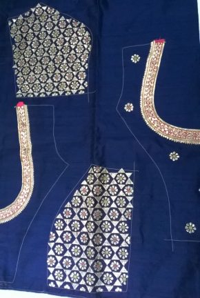 A gota work blouse ready to make up, Sankalan workshop.