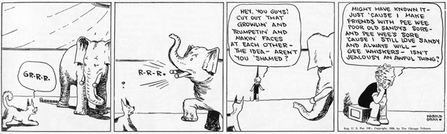 Annie ponders life's big questions. Harold Gray's 'Little Orphan Annie', June 3, 1926. © Tribune Media Services, Inc.