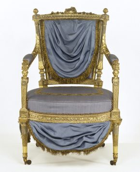 Armchair, before treatment with its 1970's upholstery and blue paint