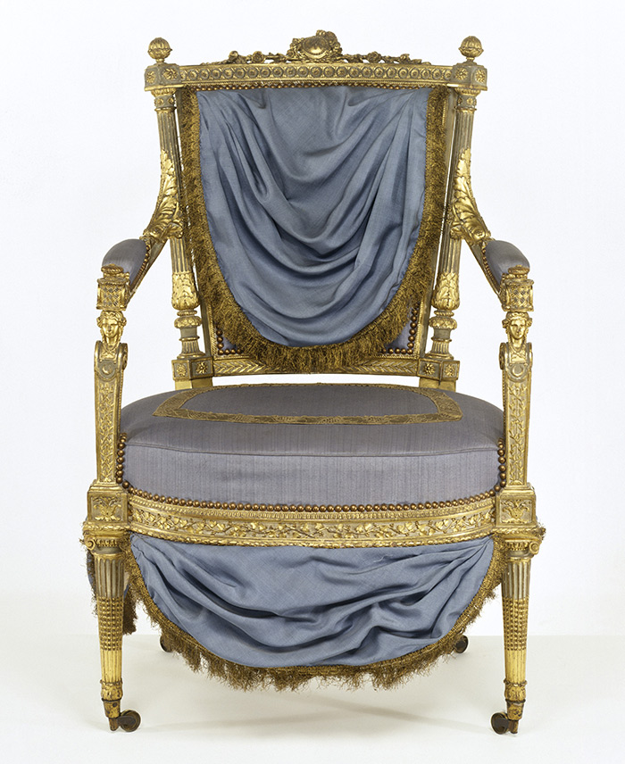 Armchair, Before Treatment With Its 1970u0027s Upholstery And Blue Paint