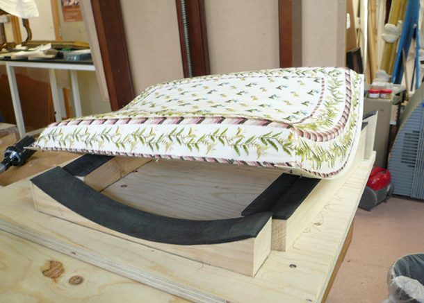 Upholstered wooden stretcher-frame