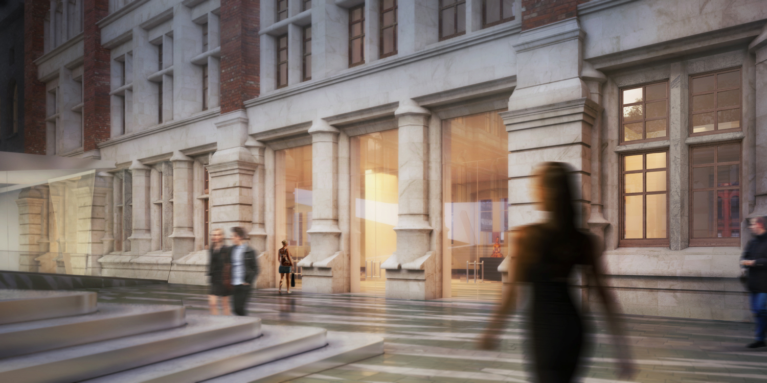 Visualisation of the courtyard and completed new entrance, 2012. © AL_A, London