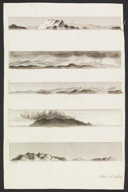 Sections of plates entitled 'Cotes et isles vues de la flotte', from a volume of 20 etchings by Baron Dominique Vivant Denon, entitled  'Voyage dans la Basse et la Haute Égypte'.  Paris, 1802. V&A SP.204:1