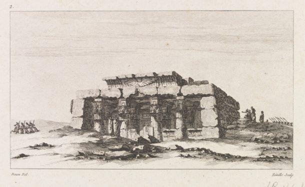 Etching of an Egyptian temple by Jean-Baptiste Réville after Dominique Vivant Denon. Paris, 1802. V&A SP.204:13