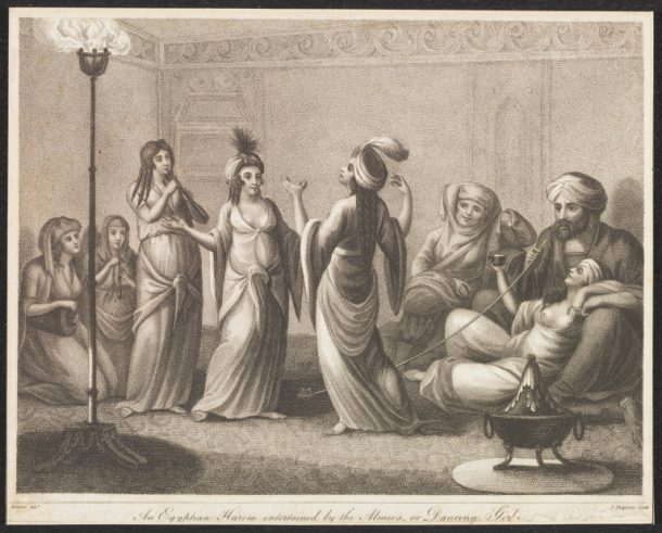 'An Egyptian Harem  entertained by the Almees, or Dancing Girls', etching and stipple engraving by John Chapman, after a drawing by Baron Dominique Vivant Denon, ca. early 19th century. V&A SP.207