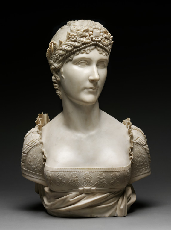 Marble bust of Josephine Bonaparte, by Joseph Chinard, France, c.1808. V&A A.36-1939. This bust will also be on display in the Europe Galleries.
