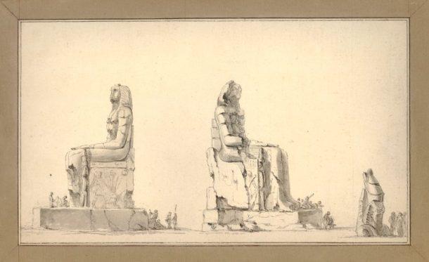 Statues dites de Memnon, one of two studies for Plate 44 of the artist's 'Voyage dans la Basse et la Haute Egypte, pendant les campagnes du Général Bonaparte', 1802 © The Trustees of the British Museum