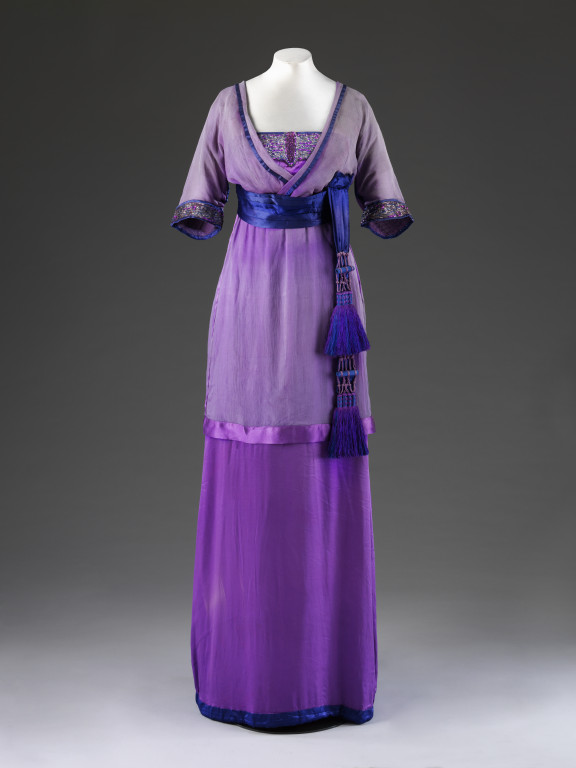 Evening dress, silk chiffon and silk satin trimmed with metal thread embroidery, sequins and silk tassel, Lucile ltd, London, 1912. Museum no. V&A: T. 35-1960 © Victoria and Albert Museum, London