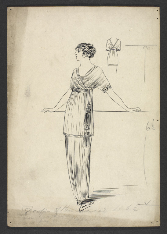 Design for the dress, Lucile. V&A Archive no. AAD/2008/6/22 © Victoria and Albert Museum, London
