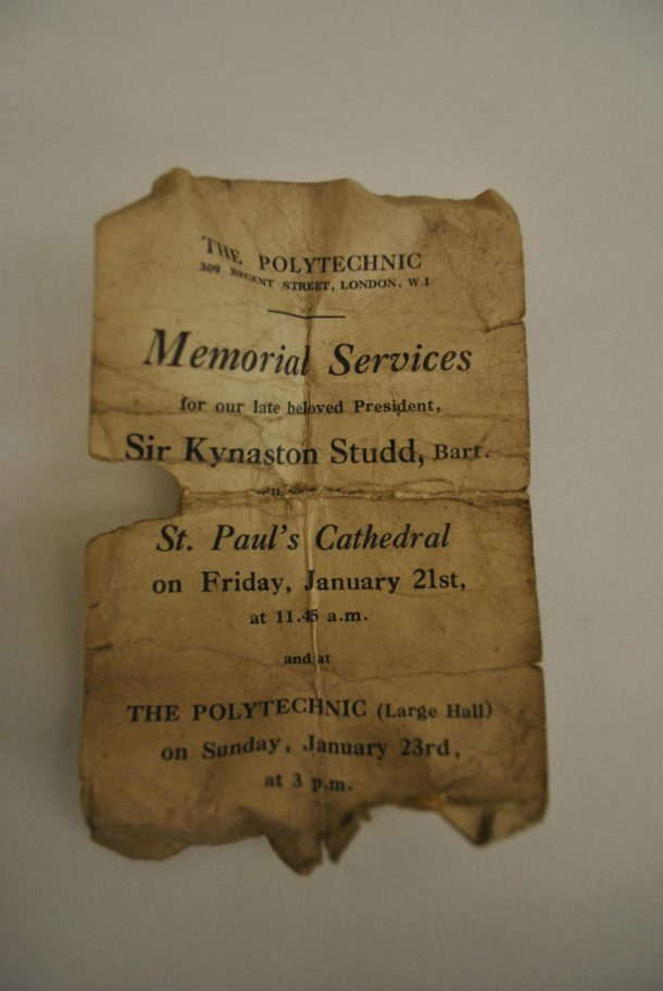 Sir Kynaston Studd Memorial Service held at St Paul's Cathedral © Johanna Puisto, Victoria and Albert Museum, London.