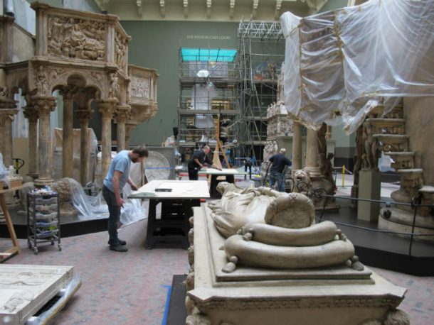 Technicians preparing objects for the November 2014 opening of the Weston Cast Court © Johanna Puisto, Victoria and Albert Museum, London