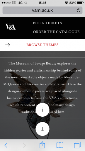 A screenshot of an iPhone screen showing a Museum of Savage Beauty bug